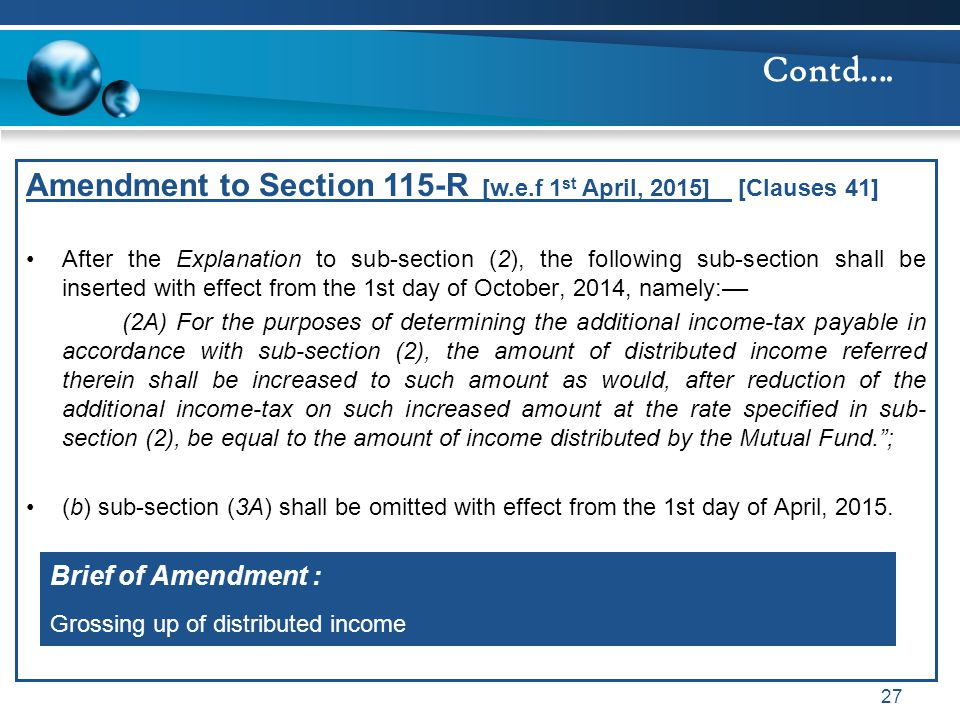 Contd…. Amendment to Section 115-R [w.e.f 1st April, 2015] [Clauses 41]